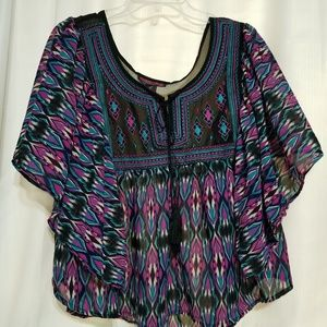 Rock & Roll Cowgirl Size S Sheer Dolman Sleeve Top